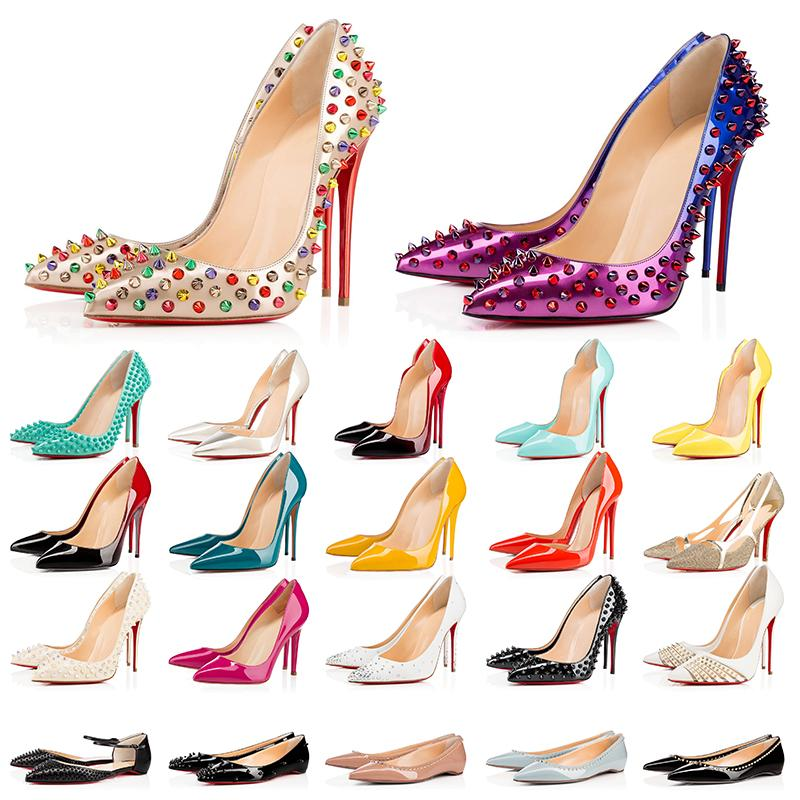 2021 Luxurys Designers shoes With Box Tacones altos de fondo rojo para mujer, mocasines de boda para fiesta, puntas en punta, bombas, zapatos de vestir con fondo rojo
