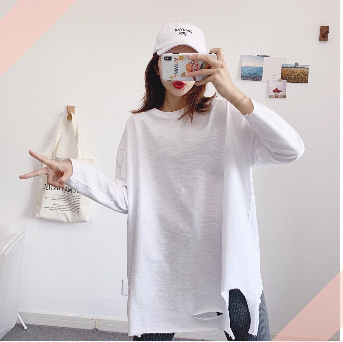 IxIOi diritta 2020 autunno cotone nuovo ringrosso versatile base T-shirt bianco donne baselong allentata baset-camicia della base lungo manicotto WN5Il grande WN5Il m