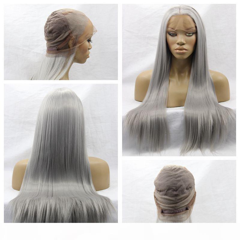 Sıcak Seksi Gri Renk Uzun Ipeksi Düz Tam Dantel Peruk Ile Bebek Saç Isıya Dayanıklı Tutkalsız Sentetik Dantel Ön Peruk Siyah Kadınlar Için