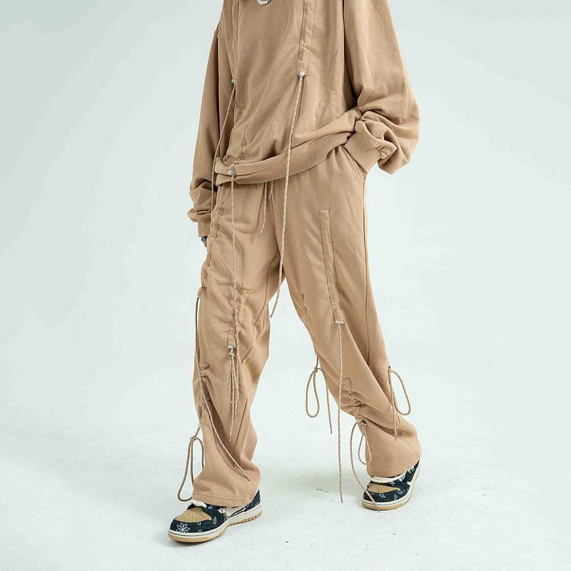 Мужские штаны EWQ / носить высокую улицу мода DrawString персонализированные спортивные штаны хип-хоп свободный хлопок прямой повседневная пара 9y3364