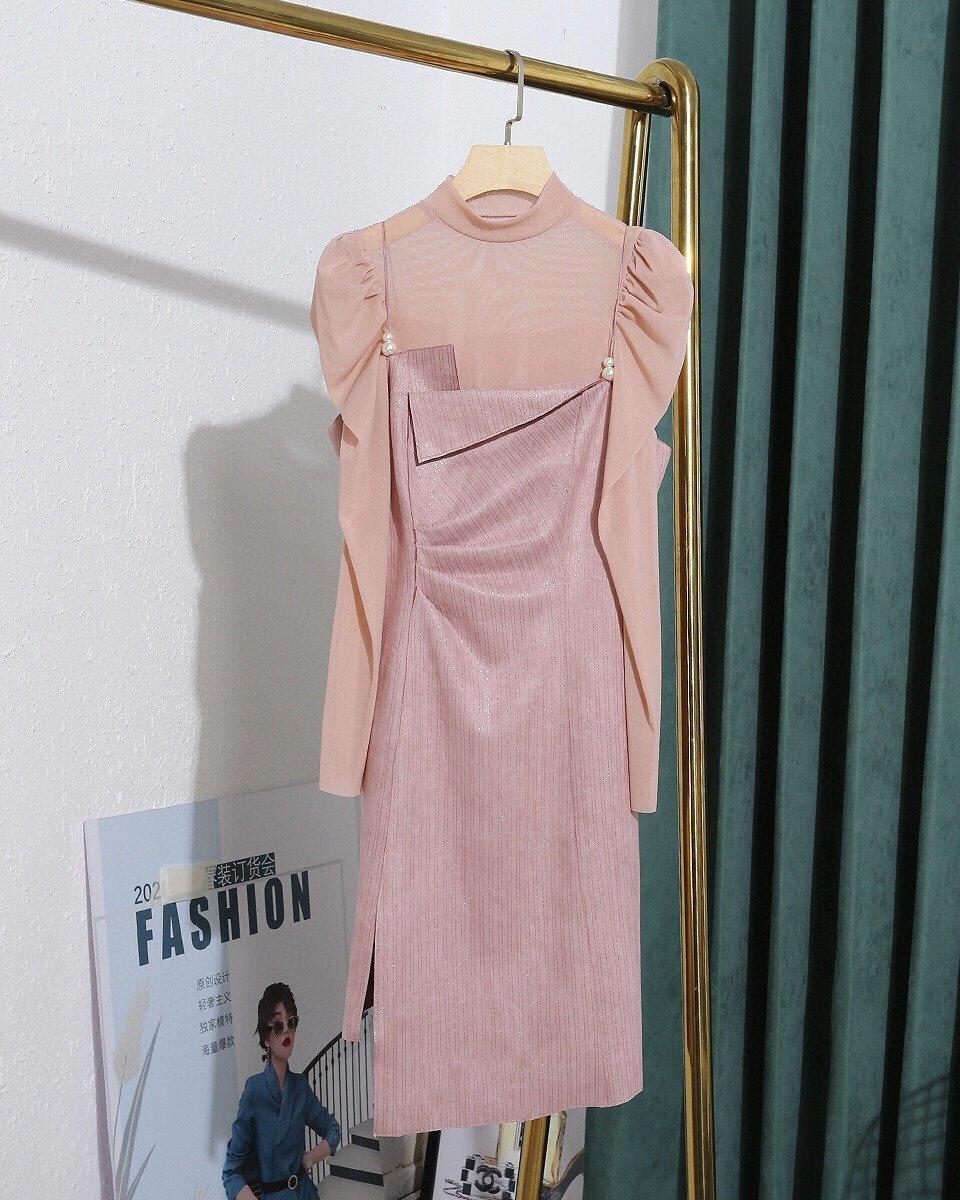 2020 nuevas señoras de alta calidad diseñador ver a través de malla + piel de ciervo vestido de terciopelo vestido largo de la manga mitad de la longitud V-cuello A-line