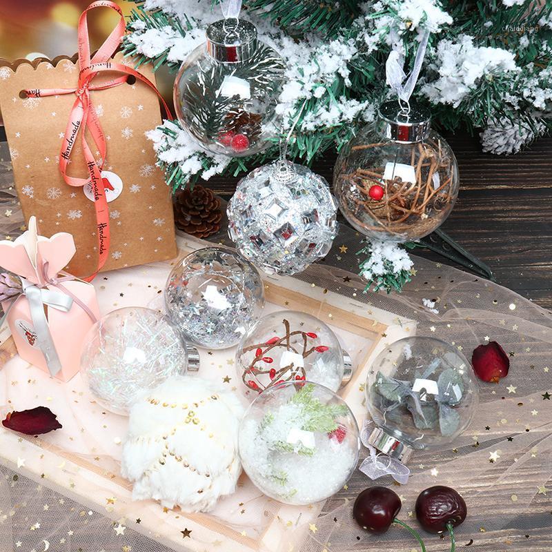 1 pc 8 cm Natal tensão decorações bola transparente aberto plástico claro bugiganga ornamento presente caixa decoração1