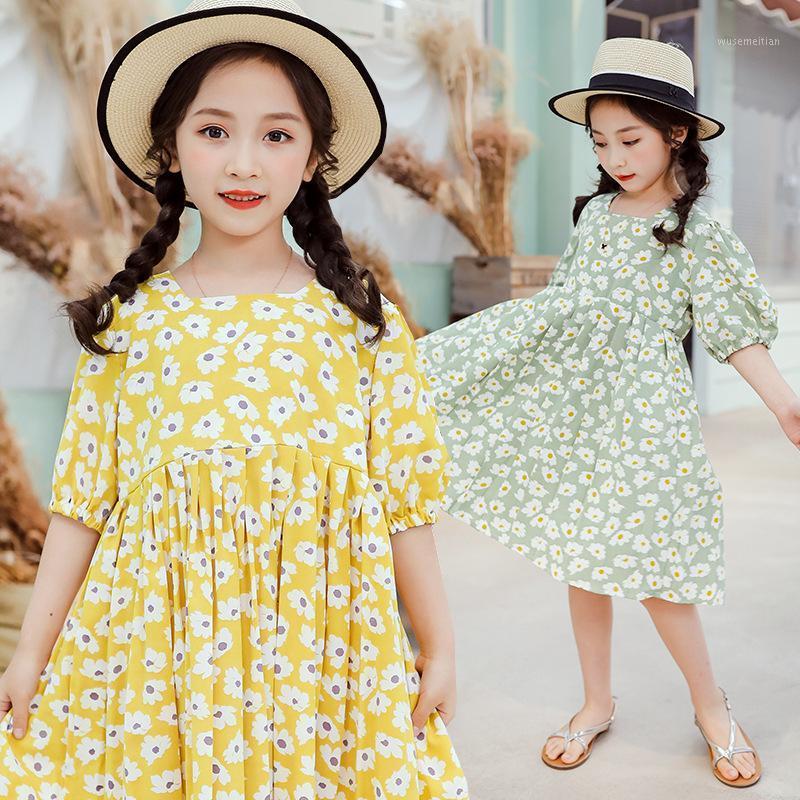 Adolescentes d'été robe princesse robe florale robe à manches courtes manches décontractées robes pour enfants vêtements pour enfants costumes pour enfants 10 12 13 an1