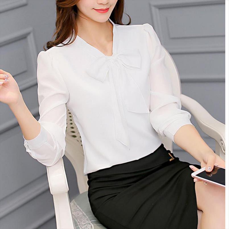 roupas das mulheres Mulheres bowknot Chiffon Blusa Lady Escritório shirt Tops casuais para Primavera Outono