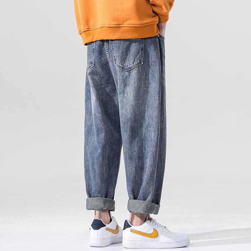 Japanische große, gewaschene verzweifelte Jeans für Männer und Frauen Retro-Buchstaben-Druck alte Hosen Herren Gerade breite Bein-Overall