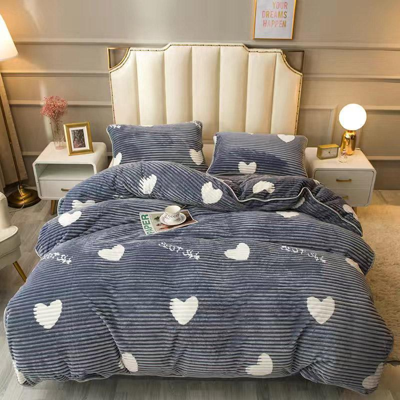 Bettwäsche Sets JUMCCHIC Dicke Winter Quilt Cover Kissenbezug Milch Samt doppelseitig Liebe Herz drucken graue Duvet Home Queen