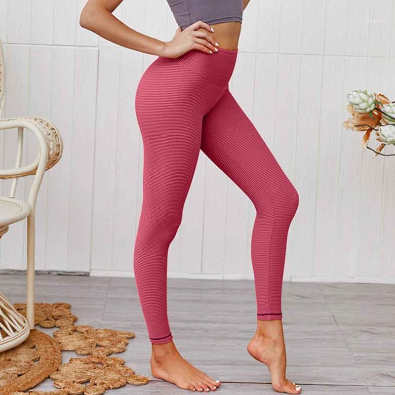 Mujeres de longitud completa Pantalones de yoga de alta cintura para sudor absorbente rápido de secado rápido impresión a rayas Push Up Fitness Deportes Running Pants1