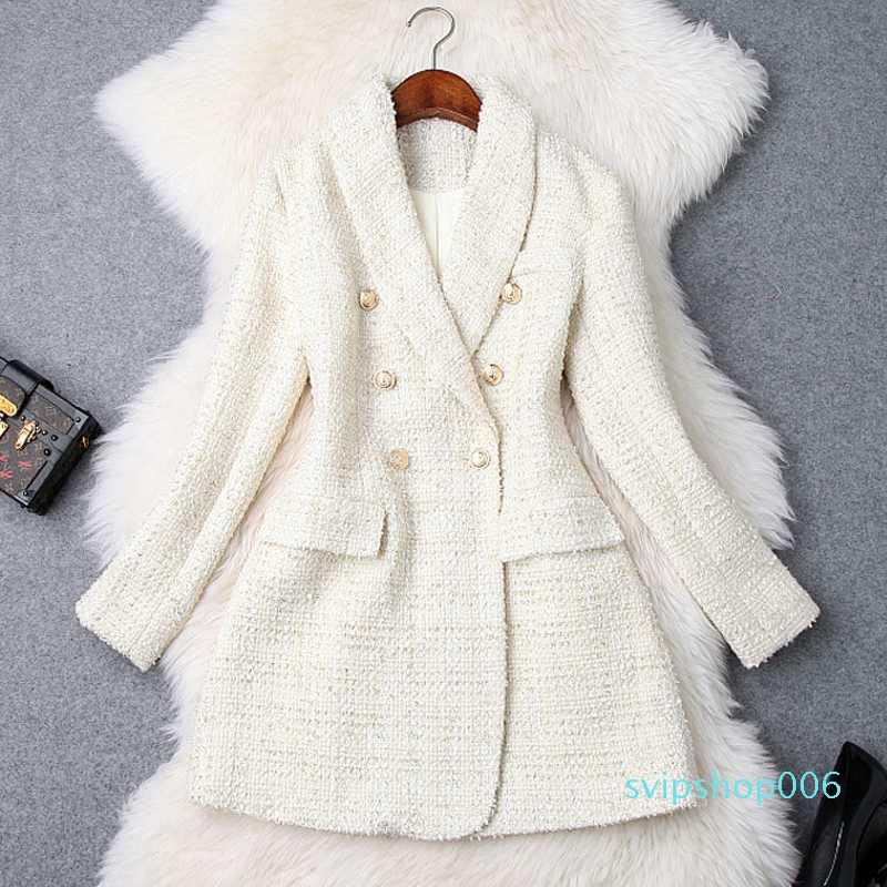 Women's Double Breasted Metal Button Long Sleeve Notched Collar Jacket Wool Blends Tweed Coat