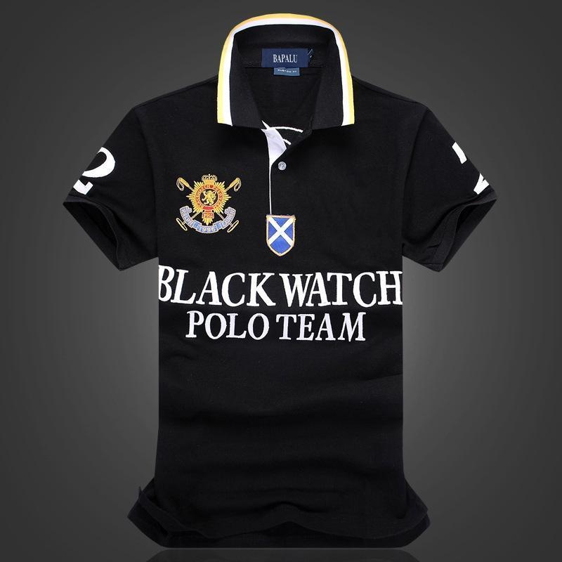 style chaud vente en gros américains de grande taille montre noir POLO équipe multi-chemise brodée Polo T-shirt des hommes T-shirt
