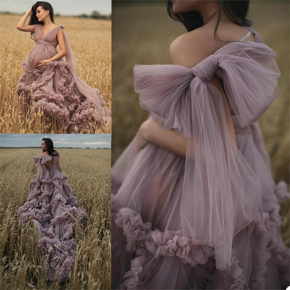 2021 New Rüschen Mutterschaft Kleider Frauen Sexy Kimono Schwangere Partei Nachtwäsche Jacken Maß Bademantel Sheer Nightgown Robes
