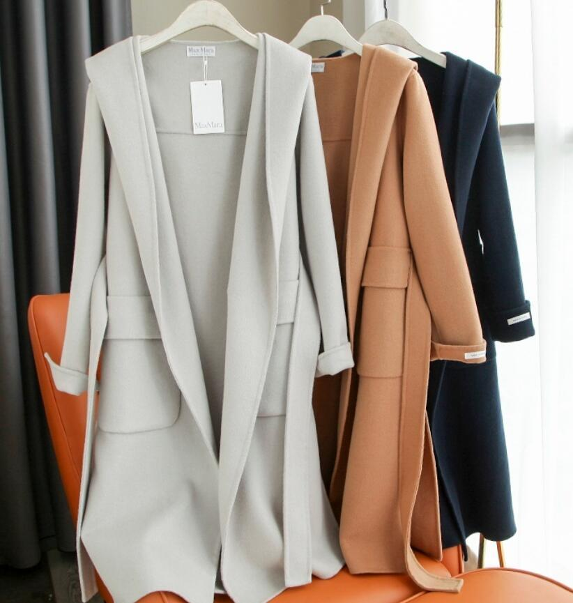 nouveau mode manteau en cachemire femmes max double face longue à capuchon mara manteau cachemire design de luxe design classique