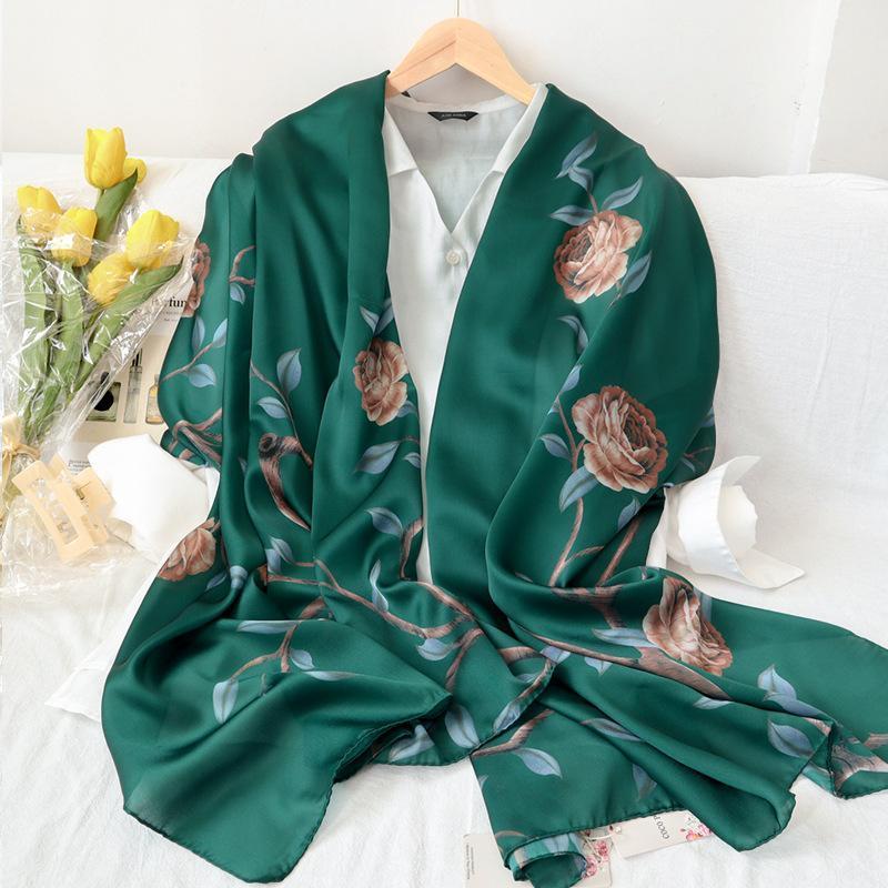 Luxus Seidenschal Foulard Weibliche Tücher Frühling Winter Hijab Stirnband Schals Dame Beach Handmade für Frauen