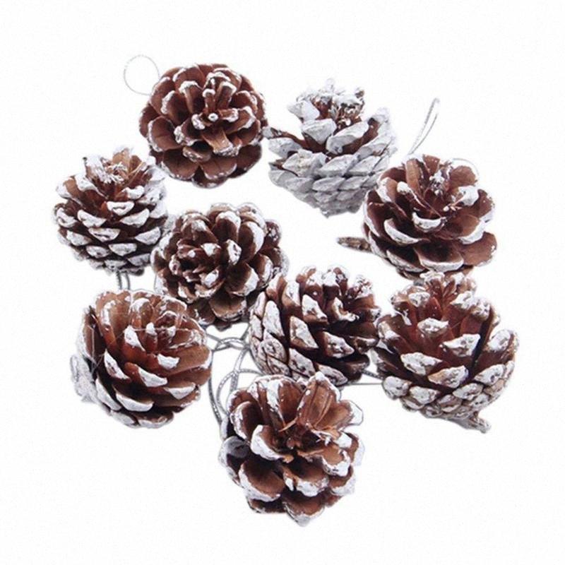 9 pièces Cônes de pin Noël Ornements pour les décorations de fête d'arbre de Noël Artisanat A7BA #