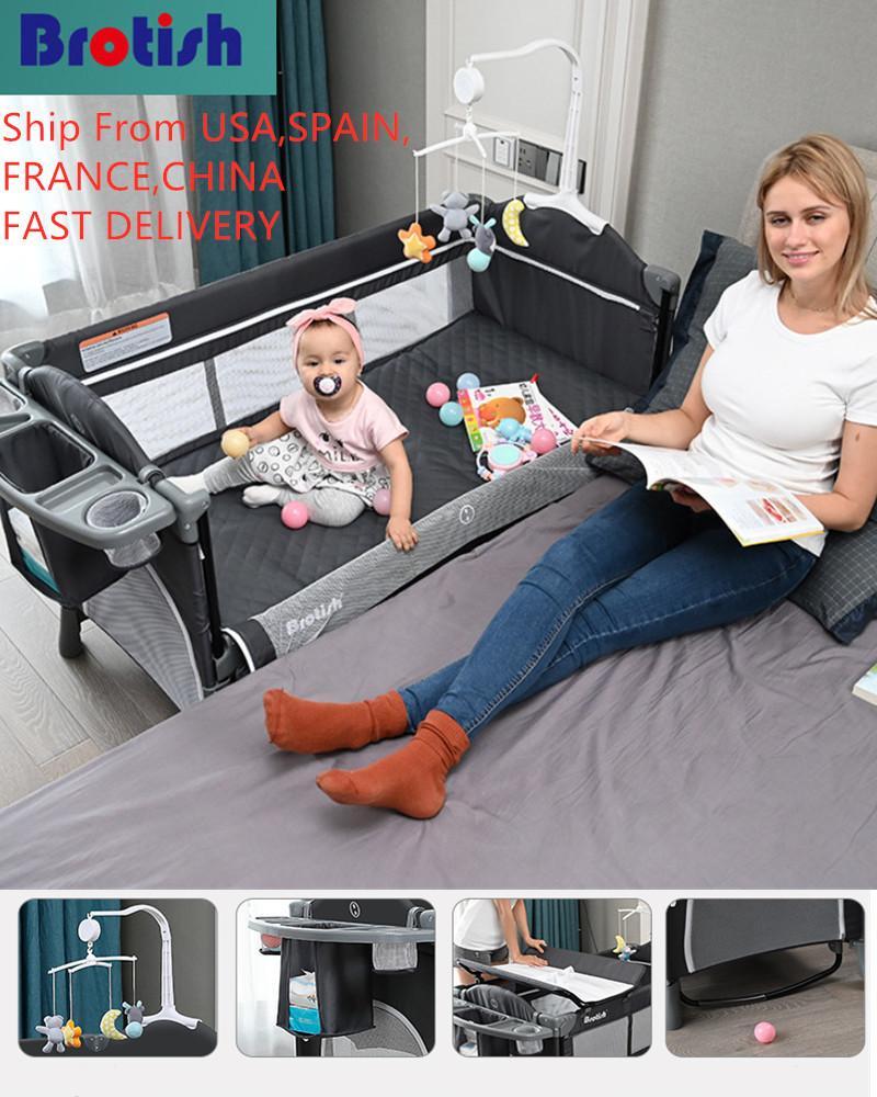 Cuna brotish empalme cama grande removible BB multifunción Portátil Portátil Portátil Bebé recién nacido Cama Cuna Play Play Fecha de jardín 1023