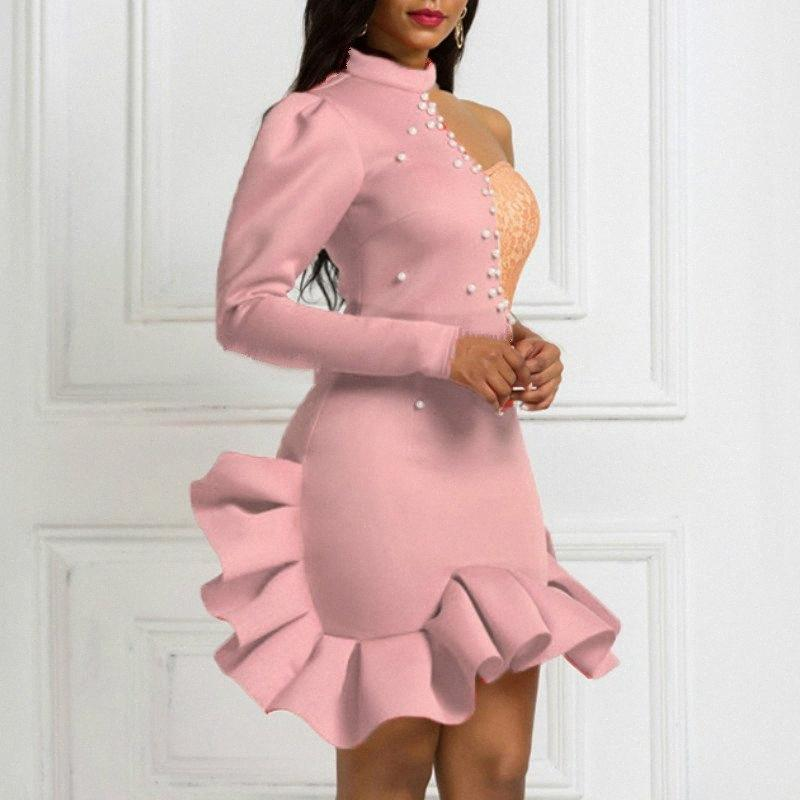 Christmas Party Dresses Ruffles Lace Patchwork Bead Sexy One Shoulder Slope Long Sleeve Women Vestido Bodycon Backless Celebrate eQ3h#