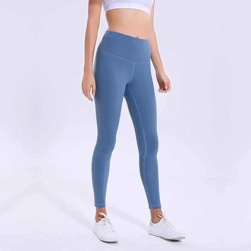 L-35 الصلبة اللون المرأة اليوغا السراويل عالية الخصر الرياضة رياضة ارتداء طماق مرونة اللياقة سيدة الشاملة الجوارب الكامل تجريب