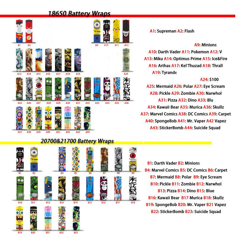 DHL 76 Types Colorful Battery Wraps 18650 20700 21700 Series PVC Skin Sticker Pre-wrap Cover Sleeve Wrapper For Batteries