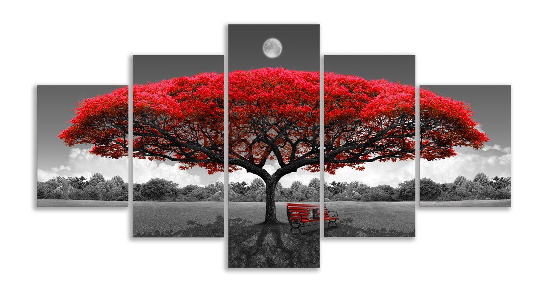 Salon 5 Adet için Duvar Dekor Büyük Pictures için Ay Siyah Beyaz Manzara Resimleri ile Tuval Wall Art Kırmızı Ağacı Duvar Sanatı