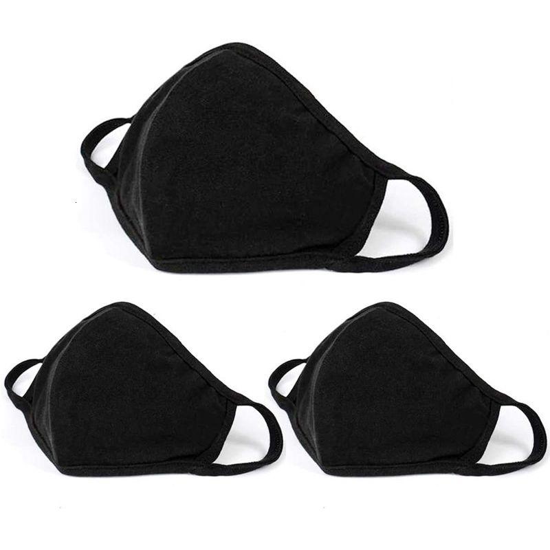 Maschere di protezione Moda Black Face Unisex polvere panno di cotone lavabile Bocca riutilizzabili