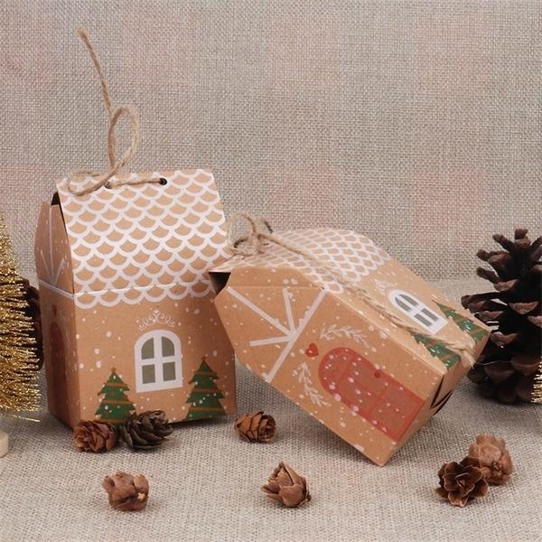 10 stücke Haus Gäste Taschen Weihnachten Weihnachtsbaum Box Geschenk für Keks Verpackung Boxen 2020 Neujahrsform Navidad Candy Afjip