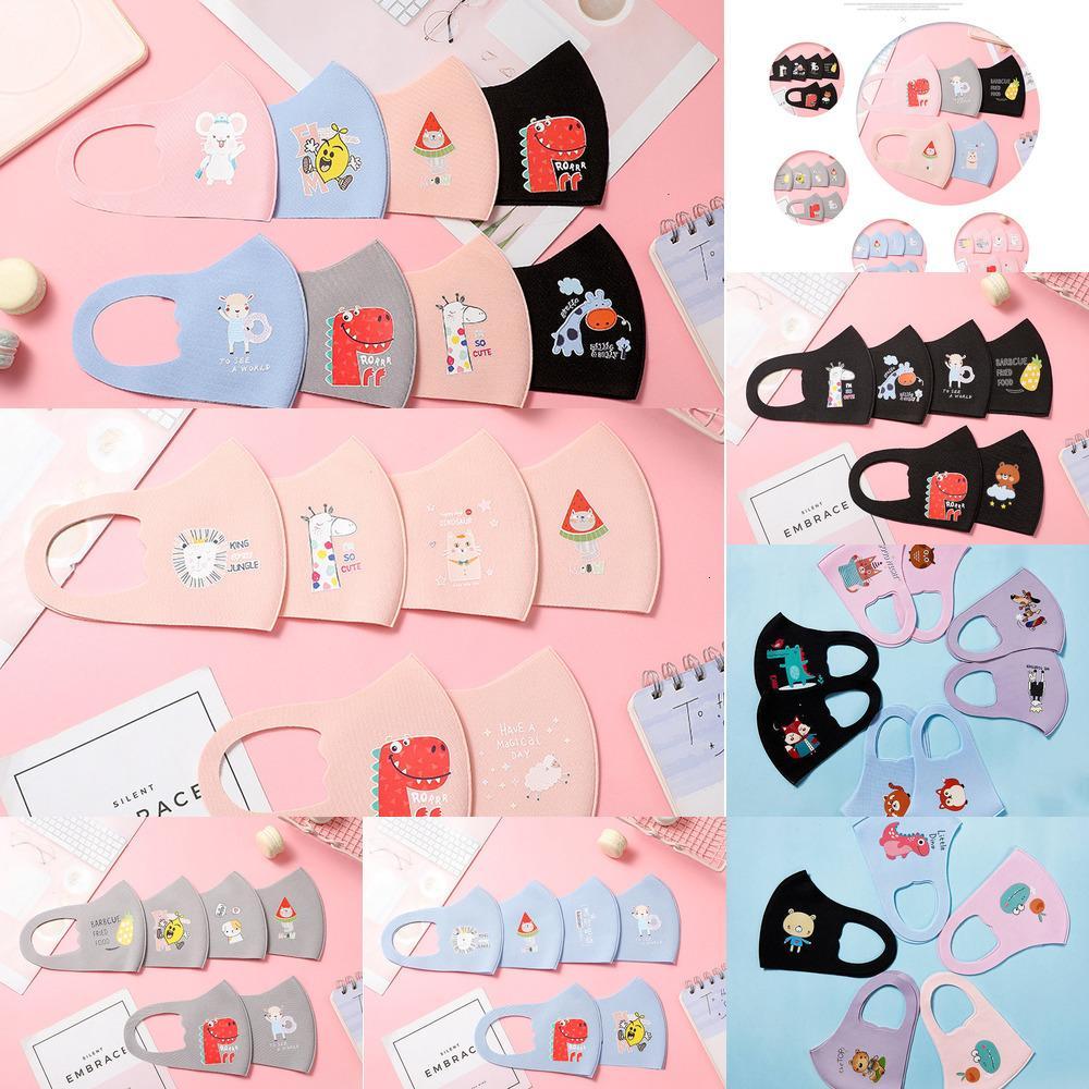 Çocuk Erkek Kız Tasarım Karikatür Maskeleri Çocuklar Yüz Anti Toz Nefes Resuarable Yıkanabilir Earloop Buz Ipek Pamuk Maske 5 ILFEB