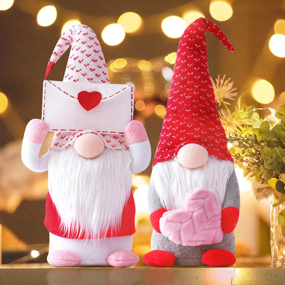 Quente Dia dos Namorados Decorações De Pelúcia Gnome -MR e Mrs Handmade Scandinavian Tomte Para Valentim Ornamento Bady Boneca Valentim Day presentes