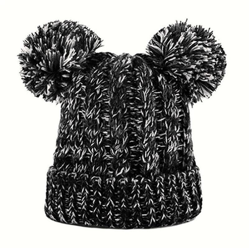 Winter Kids Pompom Knitting Hat Girl Lovely Double Ball Knitted Cap Toddler Warm Skullies Caps Crochet Beanie Outdoor Warm Hat DHB3908