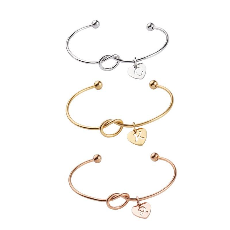 26 Letter Rose Gold Silver Gold Love Knot Bracelet Bangle Girl will you be my bridesmaid Jewelry Personality Round Pendant Chain 48 M2