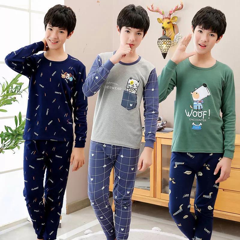Подростки Pijamas с длинным рукавом хлопок пижамы детские комплекты одежды мультфильм большие мальчики пижамы милые пижамы для девушек 10 12 14 16 18 лет 201225