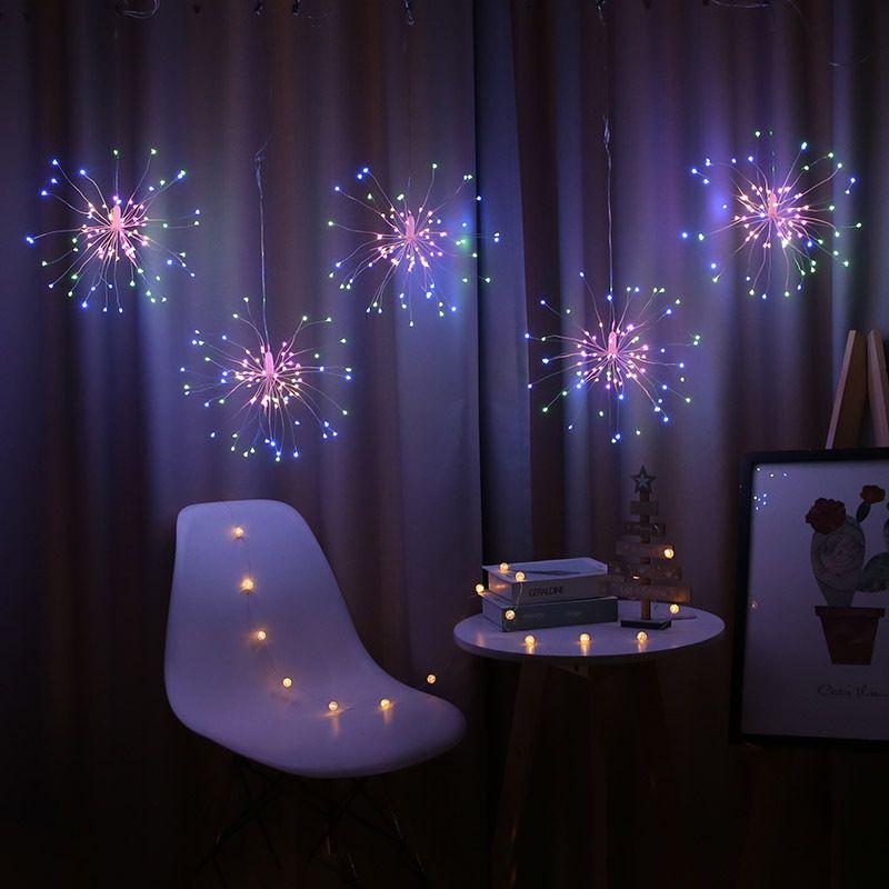 5/10 pcs pendurado luzes da esfera LED Starburst luz EU Plugue à prova d 'água luzes de fadas de cobre luzes decoração de Natal 201023
