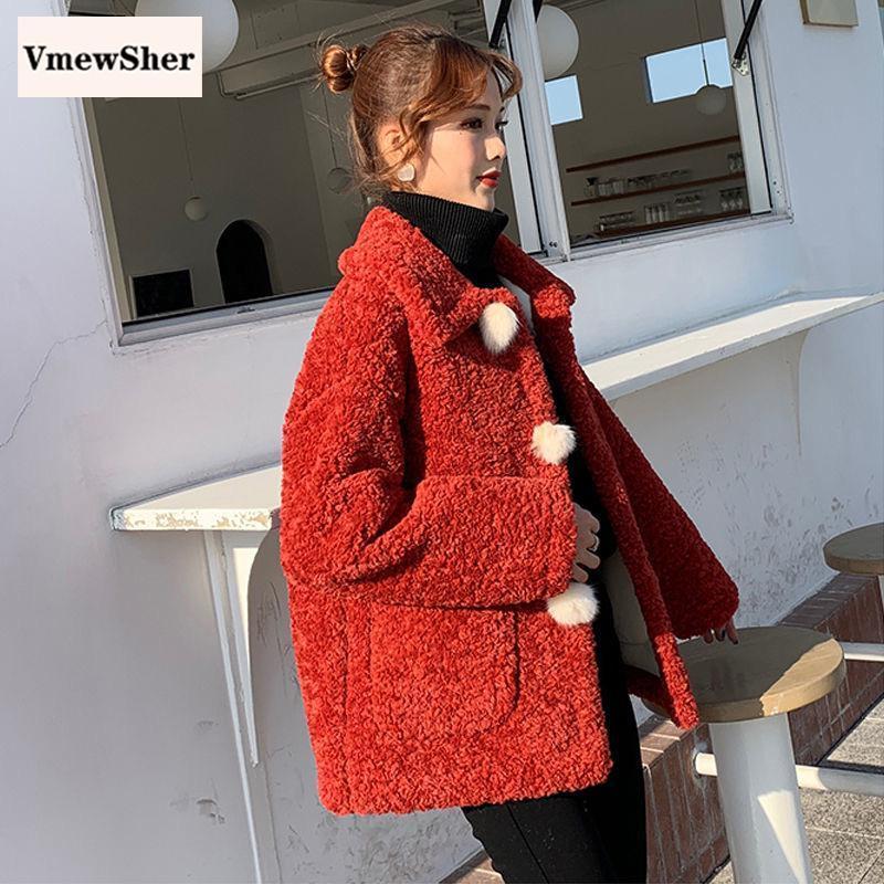 VmewSher Новые женщины зимы искусственного меха Пальто Lamb кашемира волос шарика однобортный Teddy куртка теплая с длинным рукавом Outwear шинель