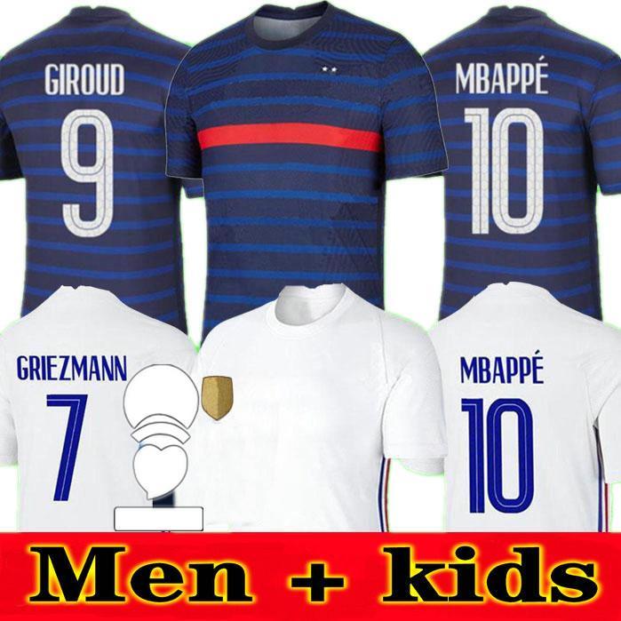 Yeni 2020 Fransa MBappe Griezmann Pogba Formaları 2021 FRANCE Futbol Forması Futbol Gömlek Maillot De Ayak Erkekler + Çocuk Seti