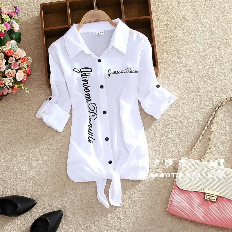 Kimono Strickjacke Weiße Bluse-Hemd Frauen drehen Kragen Kimono-Strickjacke weiße Bluse-Hemd Langarm Leinen Baumwolle Top Hemden