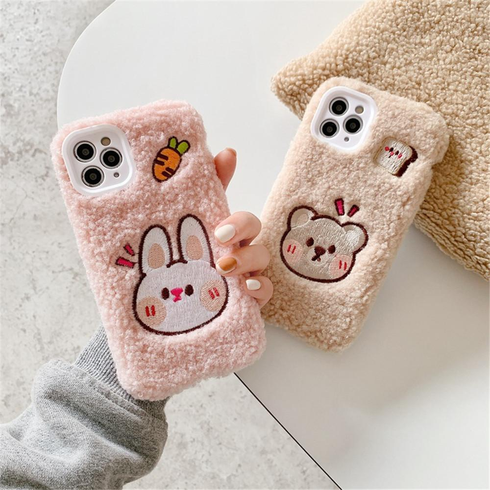 2021 new design phone case embroidery plush bear phone case for iphone 12 11 xs max huawei p40 p30 mate30 nova7 mobile phone case protector