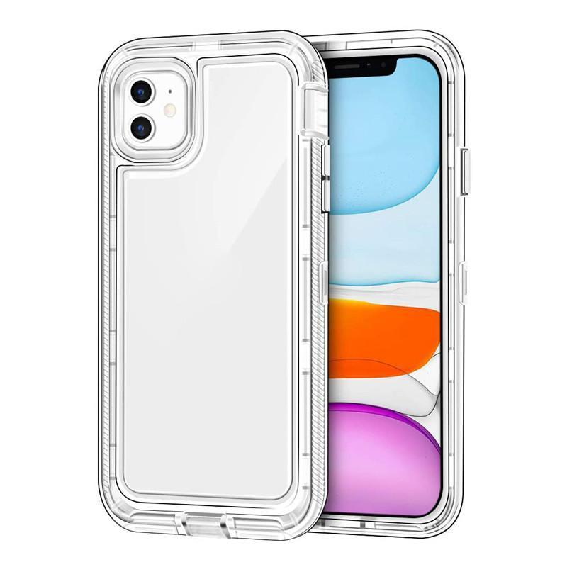 Caso transparente 3 em 1 Capa Defensor Clear Clear Capa traseira híbrida para iphone 13 13Pro 12 mini 11 Pro Max 8 7 6 s mais