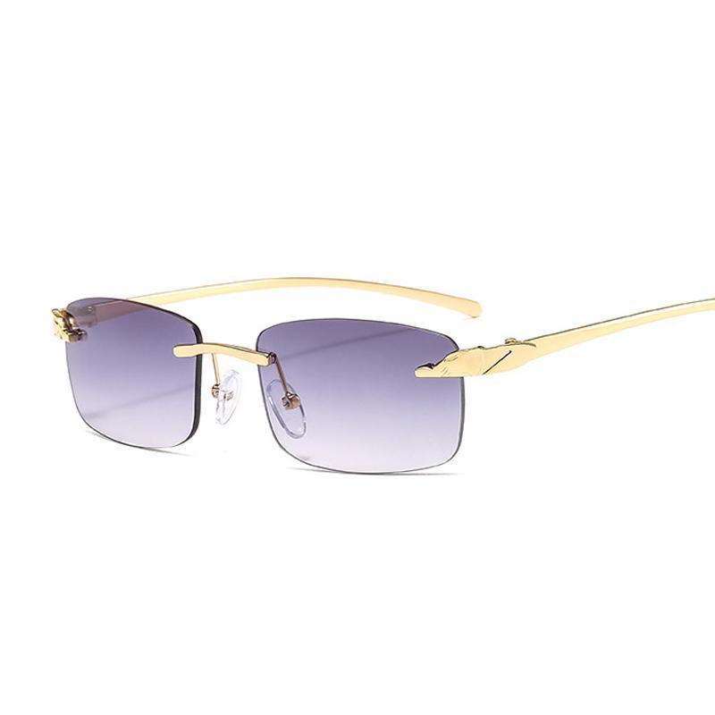 Mode Randlose Gepard Sonnenbrille Frauen Kleine Rechteck Sonnenbrille Männliche Weibliche Designer Ozeanspiegel Oculos