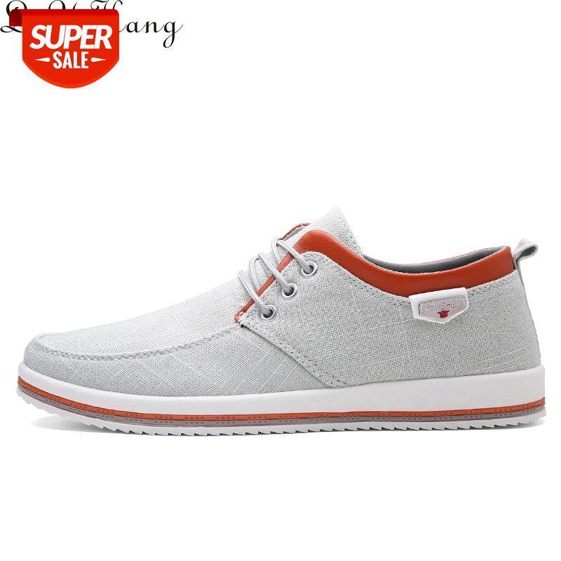 LVYIKANG 2019 Llegada Spring Summer Cómodo Zapatos casuales Hombres Lienzo zapatos para hombres Lace-Up Marca Moda Plata Planeador # L56B