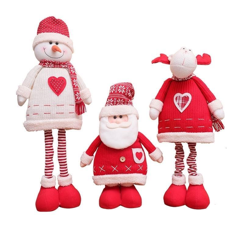 Rétractable de Noël Poupée Père Noël Nouvel An 2020 Décoration de Noël pour la maison bonhomme de neige Arbre de Noël Enfants Jouets de Noël G
