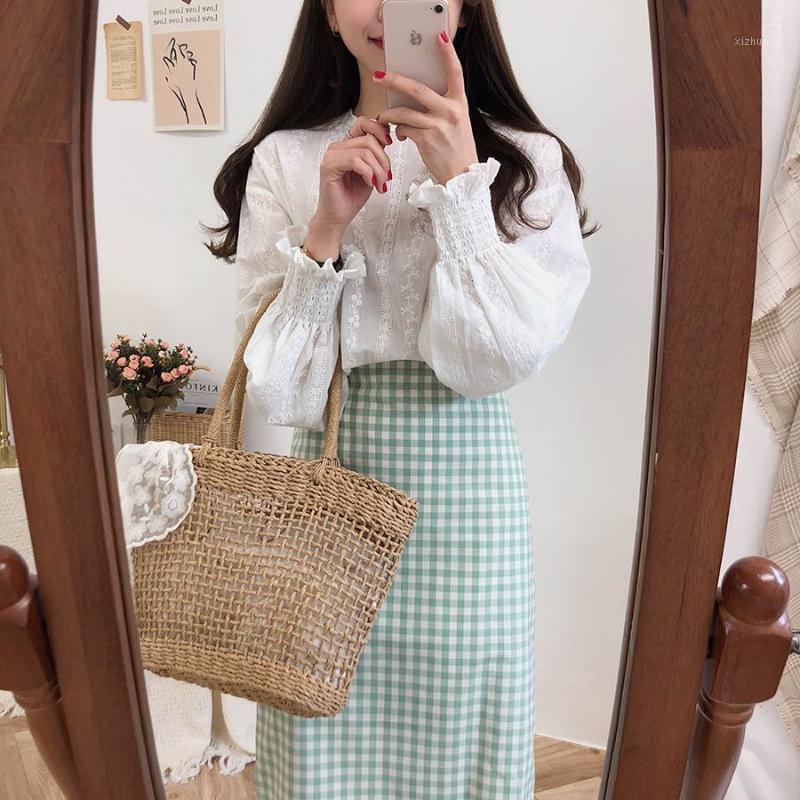 Ricamo camicia di pizzo primavera femme casual top bianco top donna manica lunga manica lino cotone ragazze camicetta plus size donne camicette femme1
