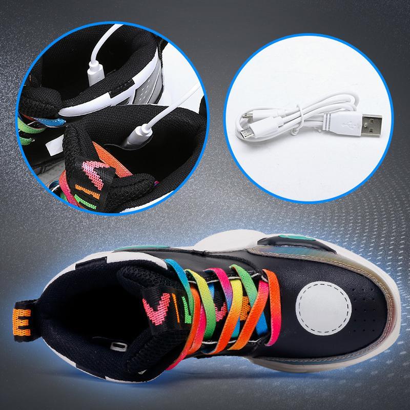 Geri Boys Parlayan Charing 2019 Yeni Led Çocuk USB Işık Ayakkabı Kız Flaş Aydınlık spor ayakkabısı zapatillas Nina