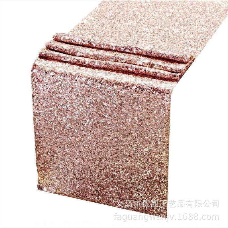 0jao1 30x275cm розовый отель украшения банкетки блестки блестки таблицы флаг 30x275 см розовое золото украшение гостиницы золотая скатерть банкетка скатерть