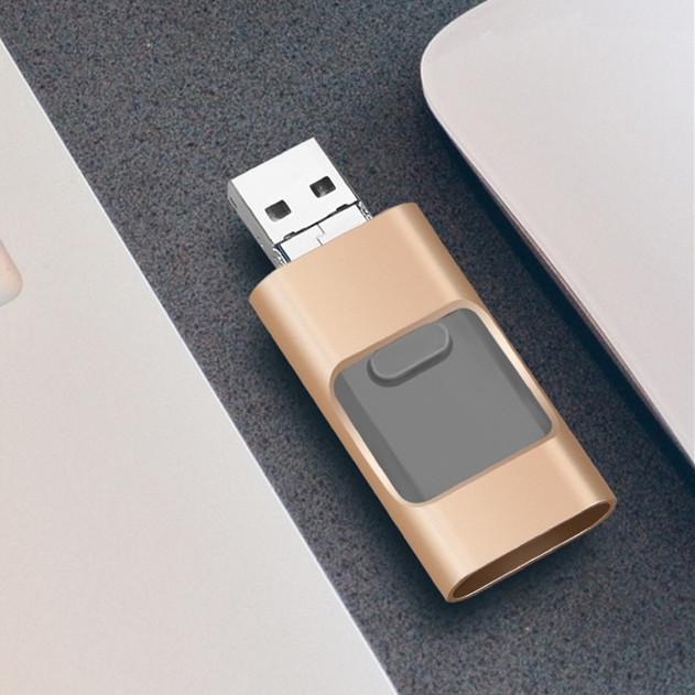 Pendrive 32GB 3 em 1 iPhone USB flash drive OTG 32GB Pendrive 3.0 CLE USB flash drive 64GB para para iphone / android / tablet pc