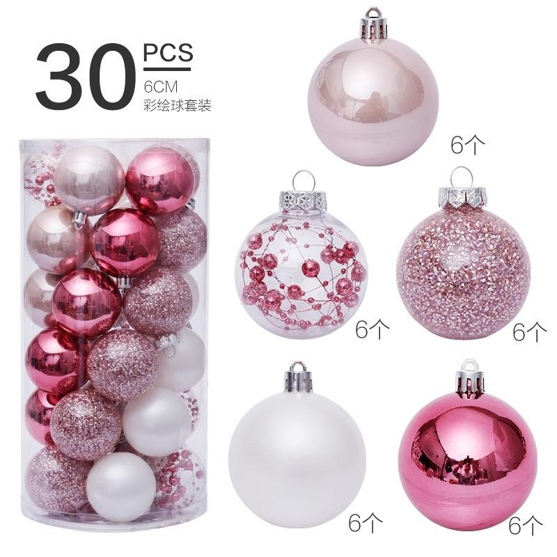 6 cm30pcs ornamentos de bola de plástico rosa bolas de Natal decorações de Natal para casa árvore de natal pingente adornos navideños 201127