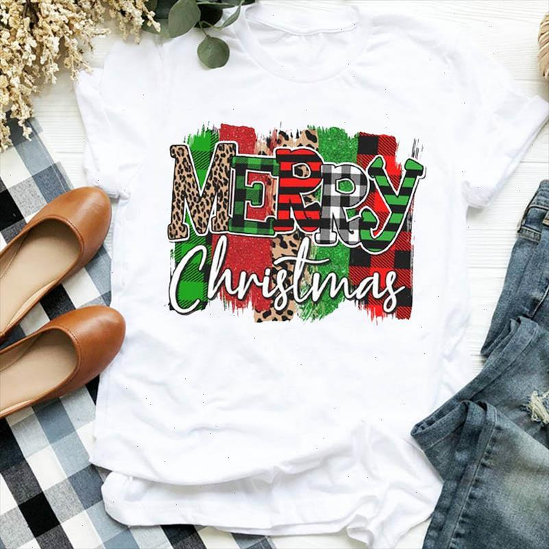 Frauen Dame Plaid Leopard Brief Urlaub 90er Jahre Herbst Winter Frohe Weihnachten Tshirt Weibliche Top Graphic Kleidung Hemd T T Shirt