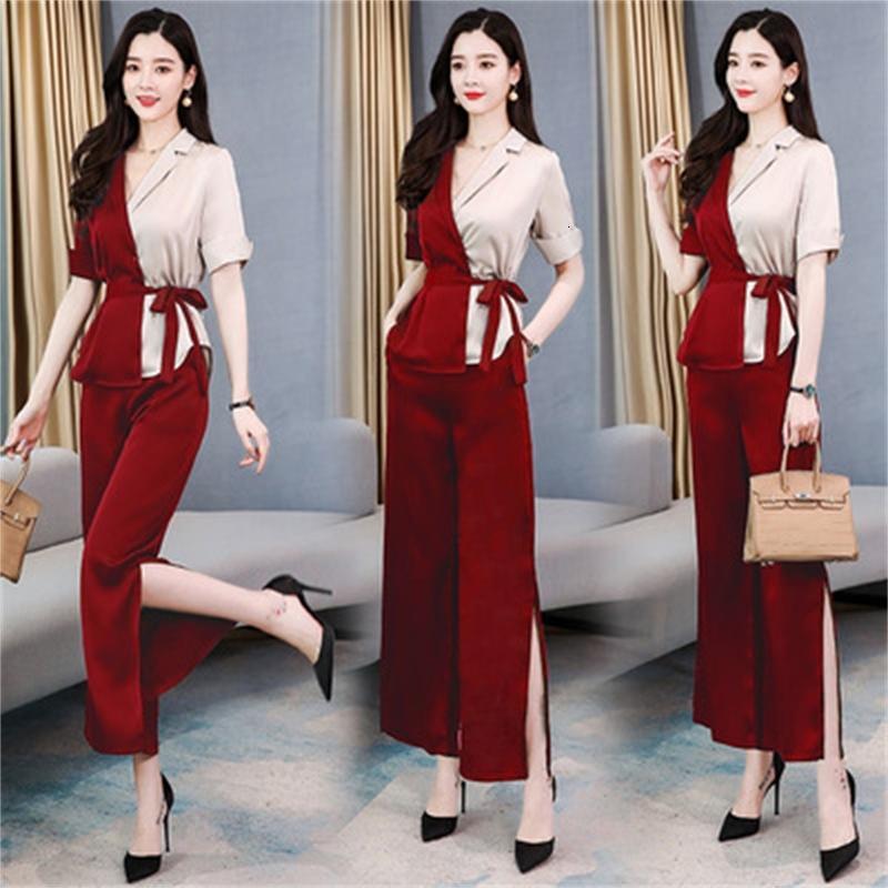 Peças de contraste de luxo As mulheres alteram dois conjuntos de calças femininas de alta qualidade design de design de escritório Senhora Cop4