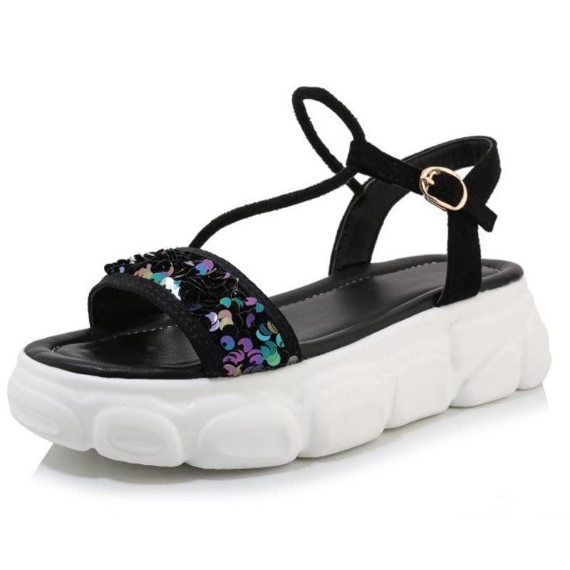 Sandali Fanyuan Plus Size 29-46 Scarpe da donna Thick Platform Platform Open Toe Summer Bling Esterni Patchwork Patchwork Mujer Calzature