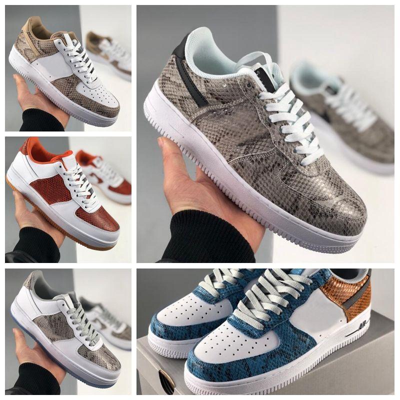 2020 새로운 뱀 가죽 1S 여성용 신발 운동화 망가기 운동화 낮은 스케이트 보드 스포츠 Des Chaussures Zapatos 36-45