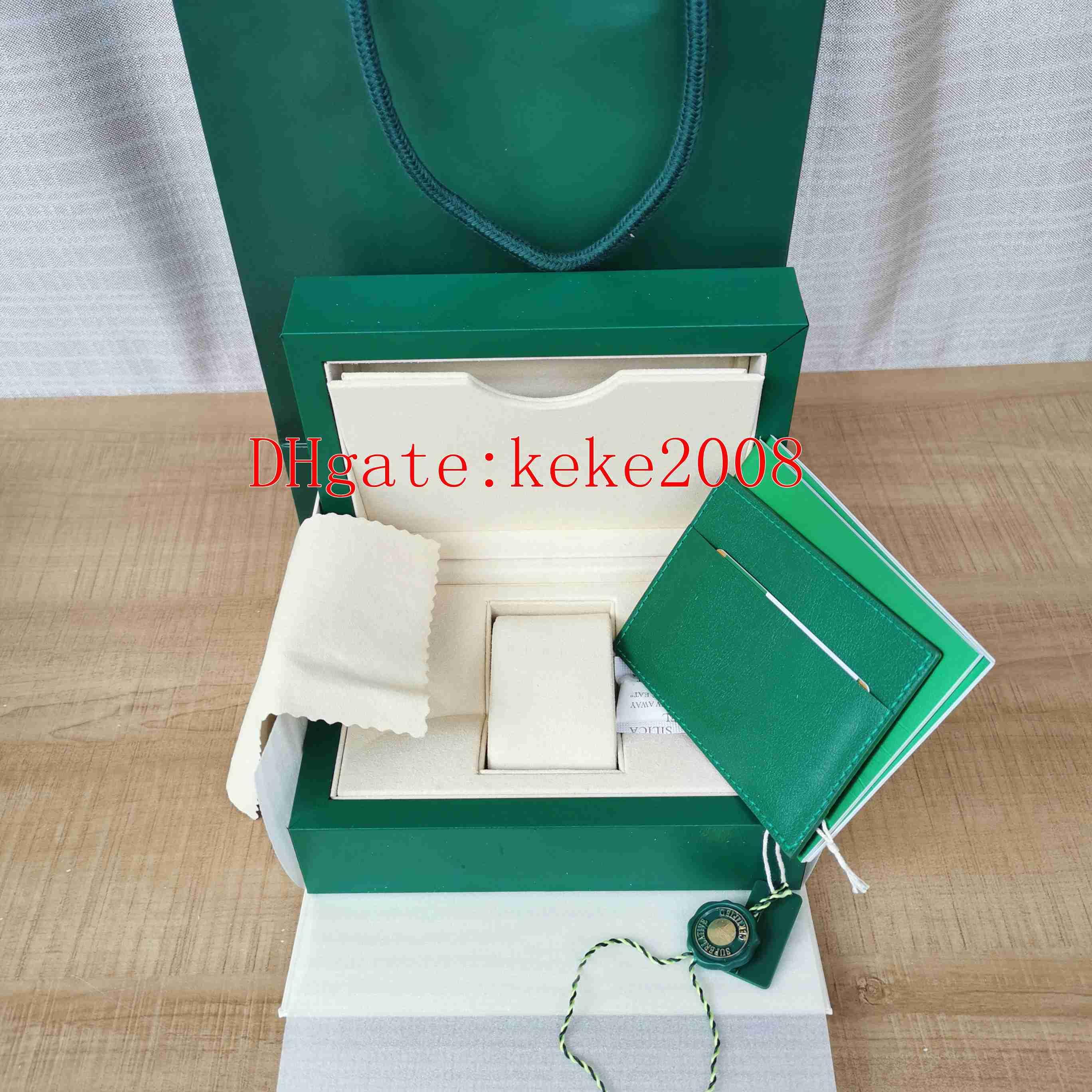Cajas de alta calidad Green Watch Wristwatches Hulk Box Original Batman Panda 116610 116600 116500 126000 Folleto Certificado Regalo Presente Hombre Relojes Mujer