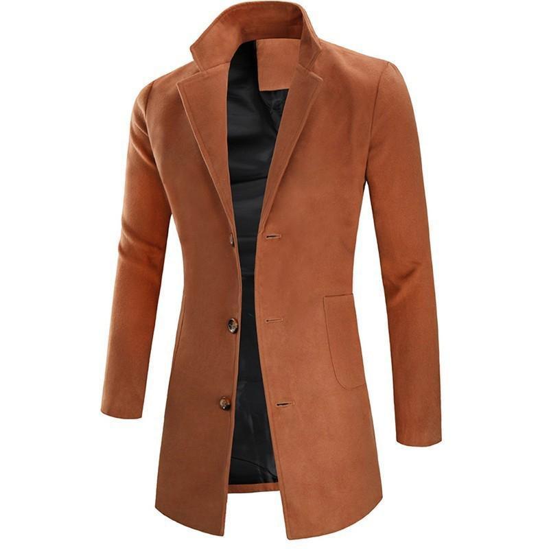 Lana Mezclas Escudo chaqueta larga de los hombres del otoño invierno calidad de los hombres de la cachemira masculina del ajustado de abrigos de lana capa capas de negocio