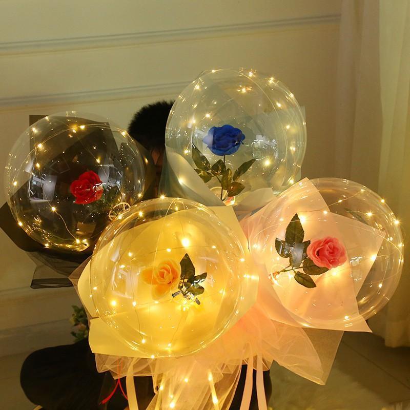 الصمام بالون مضيئة روز باقة شفافة بوبو الكرة روز عيد الحب هدية عيد ميلاد حفل زفاف الديكور بالونات